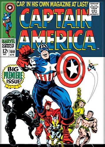 Ata-Boy Marvel Comics Captain America No. 100 2.5' x 3.5' Magnet for Refrigerators and Lockers