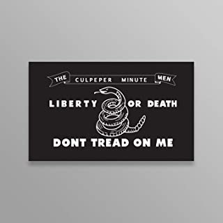 JMM Industries Culpeper Minutemen Flag Black Liberty or Death Don't Tread on Me Vinyl Decal Sticker Car Window Bumper 2-Pack 5-Inches by 3-Inches Premium Quality Vinyl UV Protective Laminate PDS2071