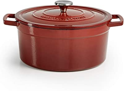 Martha Stewart Cherry Red Enameled Cast Iron 6 QT Dutch Oven Bundle with Cocinaware Red Silicone Spoon with Wooden Handle
