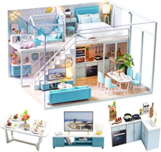 Spilay DIY Miniature Dollhouse Wooden Furniture Kit,Handmade Mini Modern Apartment Model Plus with Dust Cover & Music Box ,1:24 Scale Doll House Toys for Creative Gift (Portic Life)