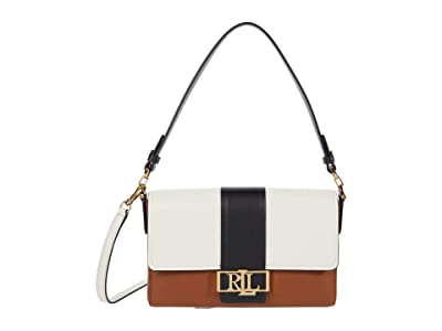 LAUREN Ralph Lauren Super Smooth Leather Spencer 25 Shoulder Medium (Lauren Tan/Black/Vanilla) Handbags