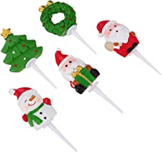 TOYMYTOY 5pcs Christmas Cake Topper Santa Snowman Tree Wreath Cupcake Insert Fruit Dessert Picks for Holiday Seasonal Xmas...