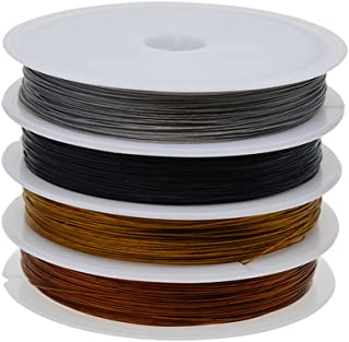 HOMYL 4 Rolls Copper Wire Resistant Jewelry Wire 0.38MM Soft Copper Wire Jewelry Making Wire Cord Roll for Crafts Beading Jewelry Making Supplies, 50 Meters/Roll, black, silver, gold and antique copper