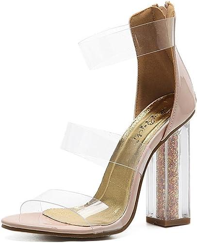 mujer Sandalias transparentes de PVC Cristal zapatos Grueso Alto Tacón Mirar furtivamente Dedo del pie negro Trabajo Fiesta Vestir Club nocturno
