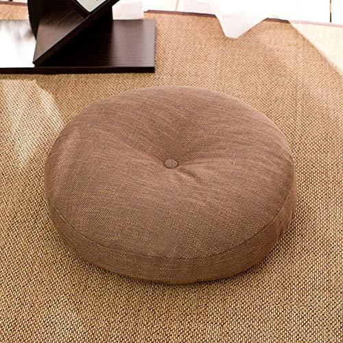 N\C Cojín de futón redondo, cojín de lino japonés acolchado para ventana de la bahía de yoga, balcón o piso, tatami, cojines de silla de 40 cm x 40 cm (Khaki, 45 x 45 cm)
