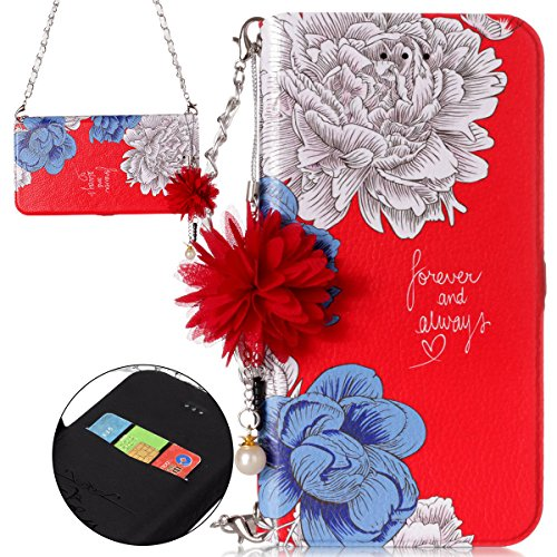ISAKEN Custodia iPhone 7 Plus, Cover iPhone 8 Plus Flip Cover Portafoglio Supporto Carta Slot Wallet Cass, Cover Custodia in PU Pelle con Porta Carte di Credito, Corda a Mano - Fiori #3