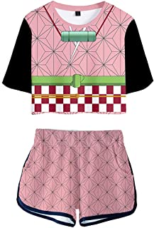 UBeisy Demon Slayer Anime Activewear Suits Tanjirou Agatsuma Zenitsu Cosplay T-Shirt and Shorts Kimetsu no Yaiba Summer Set