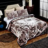 MERRY HOME Soft and Warm Sherp Flannel Blanket, 3-Piece Fleece Blanket(79'x91') with Pillow Shams - Korean Style Printed Embossed Bed Blanket, Wolf
