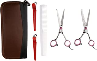 BAOBLADE Pro 6 in 1 Salon Barber Hair Cutting Thinning Scissors+Holster+Comb Set Pink