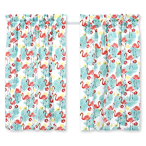 Cackleberry Home Tropical Flamingo Cafe Curtains Cotton 28 Inches W x 24 Inches L, Set of 2