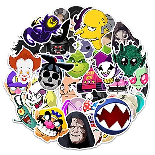 LVLUO Película de Dibujos Animados Anime Villa Pegatina Doodle PVC Impermeable monopatín Equipaje Guitarra portátil Divertido DIY Pegatina Juguetes para niños 50 Uds