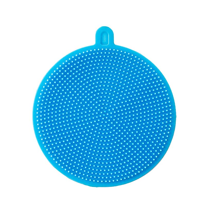 DZT1968 1Pc Silicone Dish Washing Sponge Scrubber Kitchen Cleaning Antibacterial Tool-Flexible and Bouncy,Hook design for easy storage No Grease! No Bacteria! (Sky Blue)