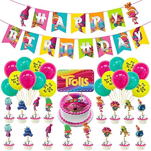 Troll Decoración de cumpleaños para niña, Feliz cumpleaños Conjunto de pancartas Troll Papel de Aluminio Globo Látex Confeti Fiesta en Globo Decoración Chica Novia