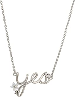 "Blue by Betsey Johnson Silver with Crystal and Flower Accented ""Yes"" Necklace"