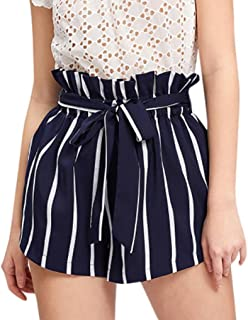 Summer Clearanc!Women Retro Stripe Casual Fit Elastic Waist Pocket Shorts Pants with String by-NEWONESUN