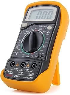MAS830L Digital Multimeter Voltmeter AC DC Voltage Current Resistance OHM Tester Multi Meter with LCD Display & Test Probe