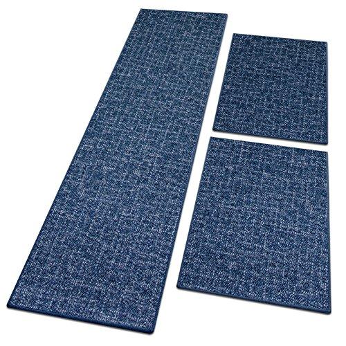 Bettumrandung Bermuda   verschiedene Bettvorleger Sets   3 teilig für Schlafzimmer mit Läufer und Brücken   Bett Teppiche mit GUT Siegel   mit dezentem Muster   verschiedene Größen (Blau, SET 2: 1 mal 67x330 cm und 2 mal 67x130 cm)