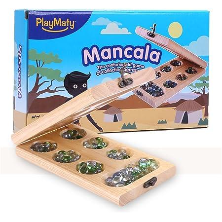 マンカラ Mancala 古典的なダブルゲーム 木製折りたたみ式 パーティー、親子ゲーム