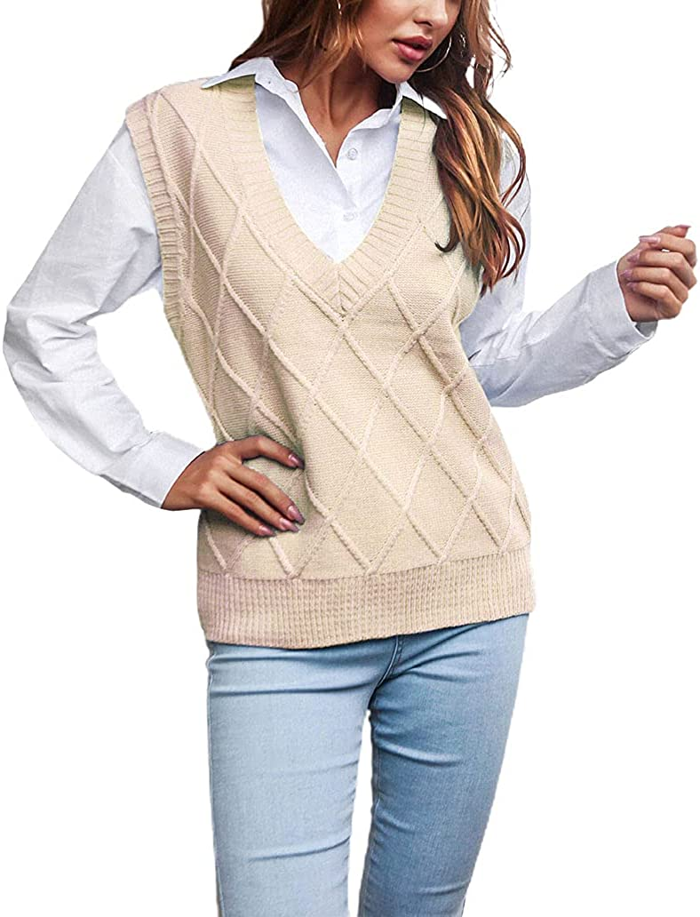 chouyatou Women's Preppy Style V Neck Sleeveless Cable Knitted Sweater Vest Tops Pullover