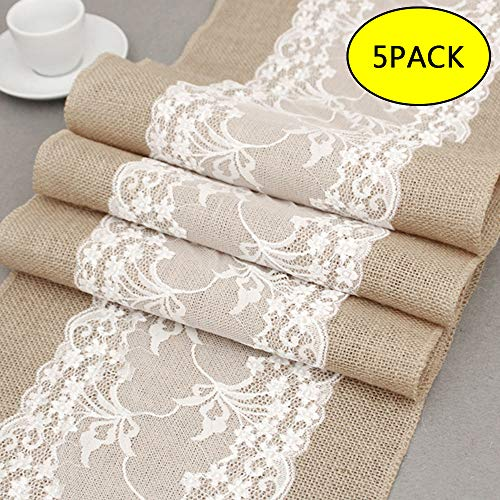 "BullStar 12"" x 108"" Burlap Table Runner with Lace Natural Jute Hessian able Runners for Wedding Party Bridal Shower Babe Shower Dining Table Decoration (B, 5pack)"