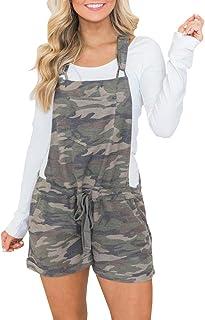 564275ef9366 Lunyu Women s Casual Summer Camo Short Overalls Jumpsuit Striped Front Flap  Pocket Short Romper