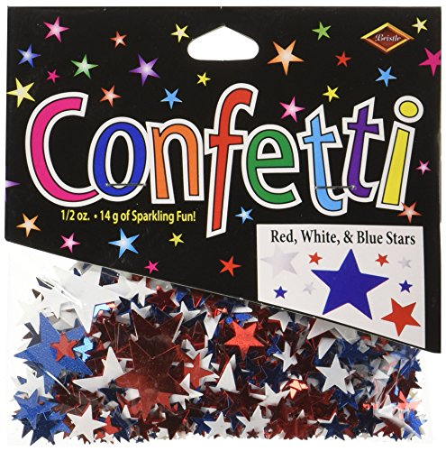 Beistle CN135 Stars Confetti, Red/White/Blue