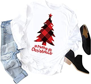 Women Fashion Christmas T-Shirt Casual Long Sleeve O-Neck Printed Tops Blouse