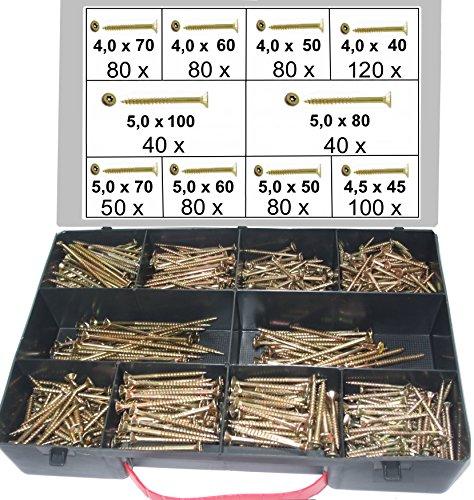 750 tlg. Schraubensortiment, Torx Antrieb, 4,0 x 40-5,0 x 100 mm, Spanplattenschrauben im Koffer