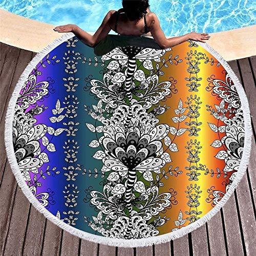 AGAGRG Toalla de playa de microfibra con borla, color redondo, indio, secado rápido, manta impresa, manta de picnic, al aire libre, multiusos, para los amantes de yoga, esterilla de playa