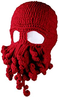 Amurleopard Unisex Barbarian Knit Beanie Octopus (One Size, Red) …