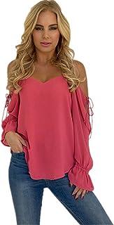 NMY Camiseta de Verano para Mujer Camiseta de Gasa de Manga Larga con Cuello en Pico Casual Top