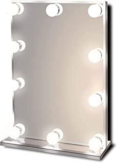 Hollywood Lighted Vanity Makeup Mirror with Bright LED Lights, Light-up Frameless Dressing Table Cosmetic Mirror with 10 D...
