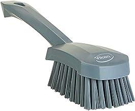 Vikan 419288 Short Handle Scrubbing Brush- Stiff - Gray