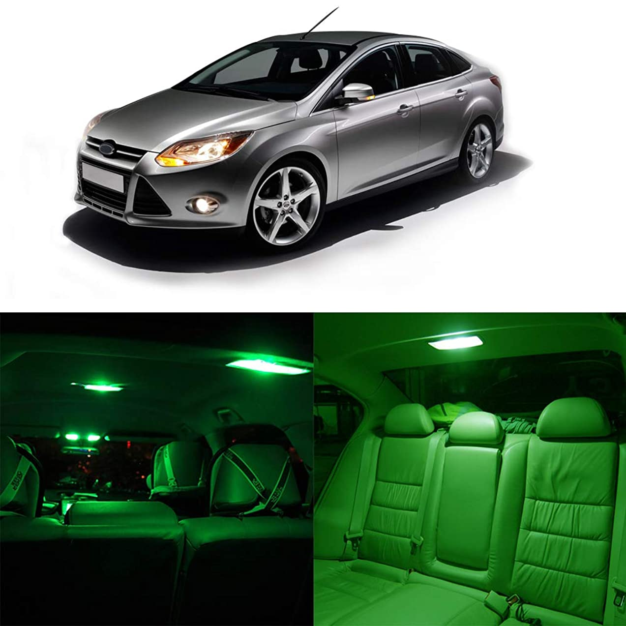 cciyu 10x Green LED Bulb Lights Full Interior Package Kit Replacement fit forDodge Charger 2006-2010