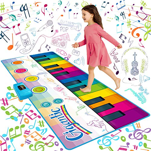 SUNLIN Giant Floor Piano Mat, 24 Keys Keyboard Play Mat, Jumbo Musical Instrument Toys Gift for Boys Girls Kids Toddlers (71'x29') - Dance Mat with Record, Playback, Demo, Education Toys for Age 3+