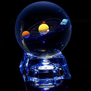 Erwei Solar System Mini Crystal Ball 80 mm (3 in) with Crystal LED Base Colorful Cosmic Model