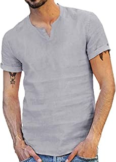 Mens Shirts Linen Tronet Summer Style Fashion Pure Cotton and Hemp Short Sleeve Comfortable Top