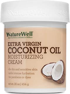 NATUREWELL Extra Virgin Coconut Oil Moisturizing Cream for Face and Body, Lightweight, Intense Hydration for Sensitive Ski...