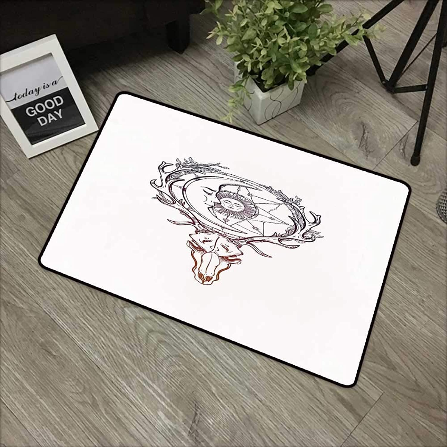 Printed door mat W35 x L59 INCH Sun,Tattoo Style Animal Skull with Celestial Star Shape Antlers Doodle,Dark Purple Cinnamon White Natural dye printing to predect your baby's skin Non-slip Door Mat Car