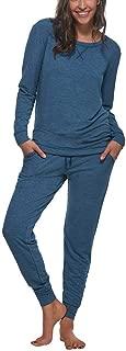 Felina Women's 2 Piece V-Notch Crew Neck & Jogger Lounge Pajama Set