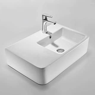 CE HOME Modern White Ceramic Basin Rectangular Vessel Sink Above Counter Bathroom Countertop Basin with Left Side Flat Contemporary Designer Style