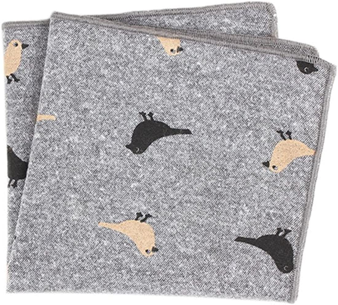 XueXian Men's Patterned Linen Casual Occassion Pocket Handkerchief (grey)