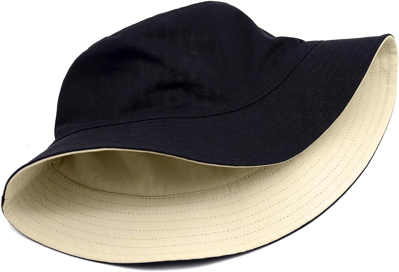 Bucket Hat Unisex 100% Cotton Solid Color Reversible Cap Summer Travel Beach Sun Hat