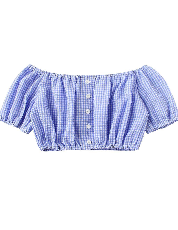 Siennaa Crop Tops Mujer Verano, adolescente niña moda hombro libre cuadriculado abdomen libre parte superior Off