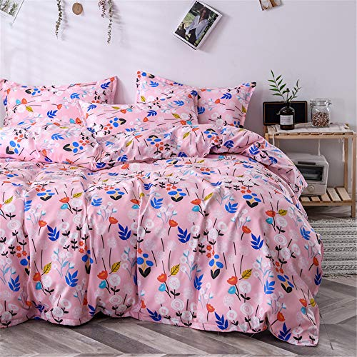 Morbuy Bedding Duvet Cover Set 4pcs for Double King Single Size Bed, Floral Printed Reversible Duvet Set with 1 Quilt Case 1 Flat Sheet 2 Pillowcases (Pink,180x220cm /1.8M)