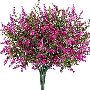 HATOKU 9pcs Bundles Artificial Lavender Flowers Outdoor Fake Flowers for Decoration UV Resistant No Fade Faux Plastic Plants Farmhouse Garden Porch Window Décor