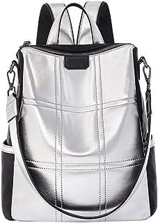 AlwaySky Damenmode Rucksack Handtasche, Silber Reflektierend Schulter Daypack Designer Persönlichkeit Rucksack Umhängetasc...