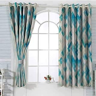 Geometricwindow Curtain 2 panelGrommet Window CurtainBlue Themed Hexagonal Shaped Abstract Modern Grunge Art Printsoundproof curtainWhite Cream Blue and Turquoise55 x 40 inch