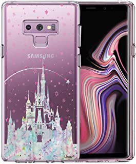 Unov Case for Galaxy Note 9 Clear with Design Soft TPU Shock Absorption Slim Embossed Pattern Protective Back Cover(Watercolor Castle)