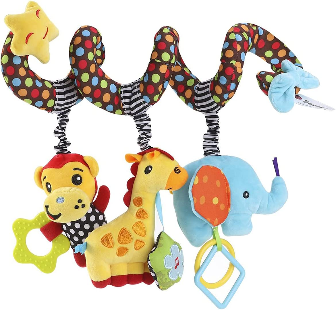 LuxAsYou Baby's Fun Accessory Cartoon Cute Animals Shapes Prams Stroller Bed Spiral Activity Hanging Toys Baby Plush Hanging Toys Colorful Soothing Toys (Multicolor#001)